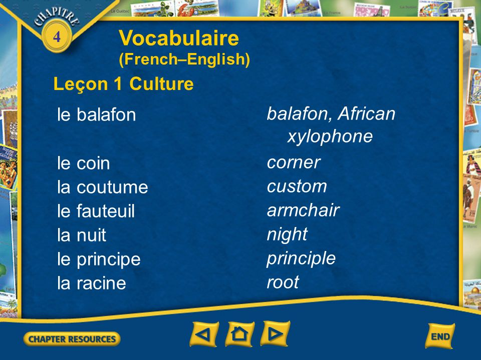 Vocabulaire Leçon 1 Culture le balafon balafon, African xylophone