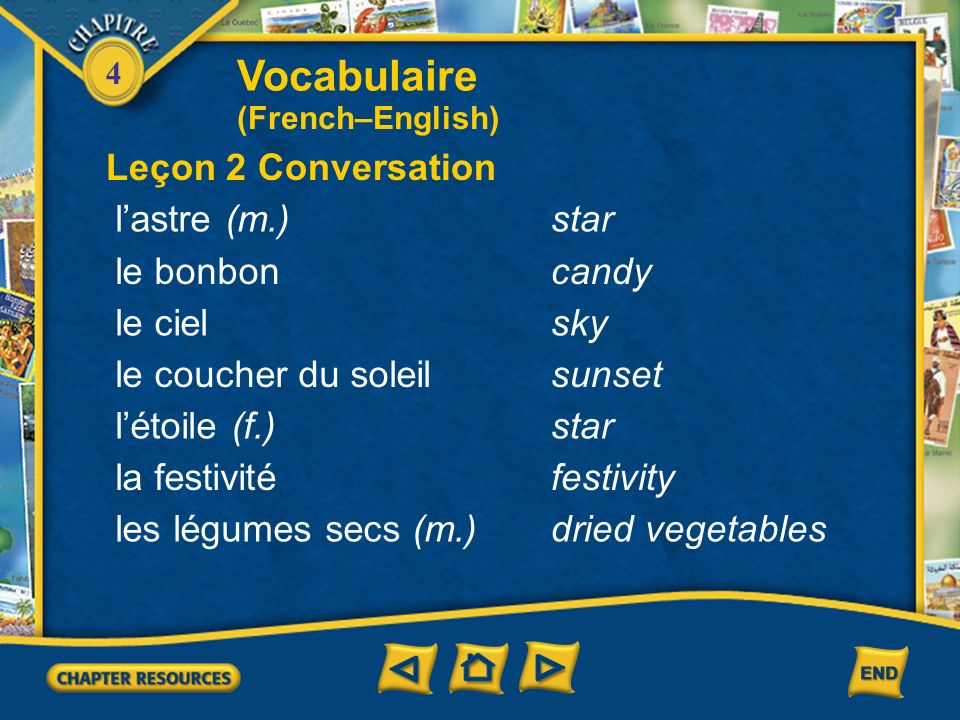 Vocabulaire Leçon 2 Conversation l'astre (m.) star le bonbon candy