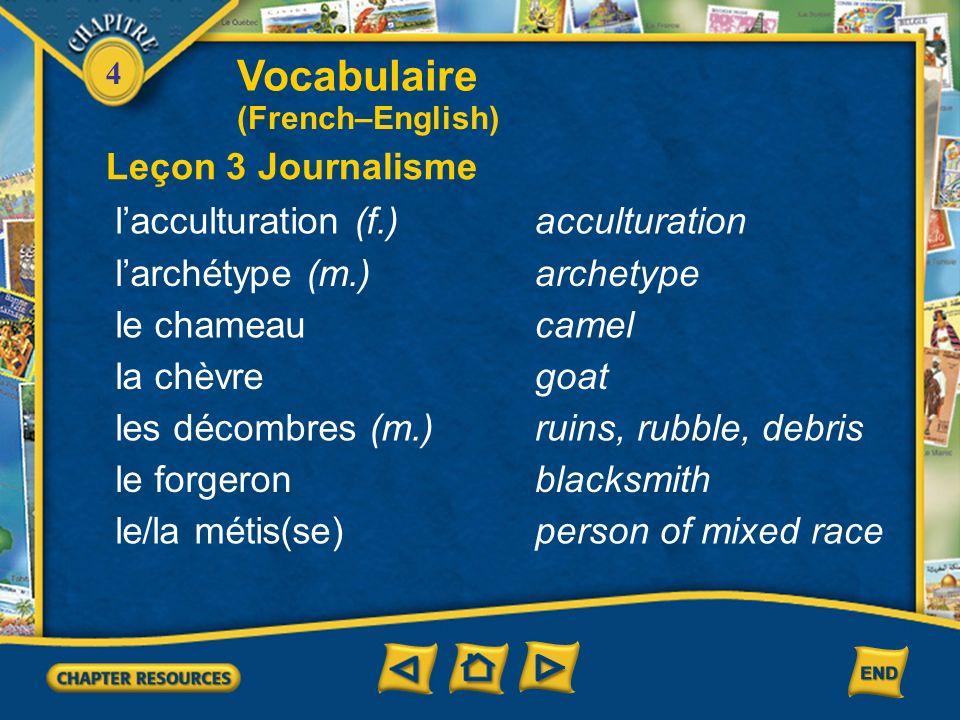 Vocabulaire Leçon 3 Journalisme l'acculturation (f.) acculturation