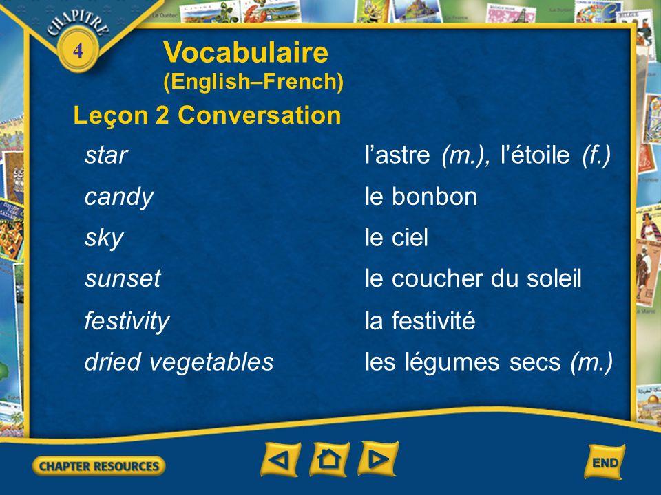 Vocabulaire Leçon 2 Conversation star l'astre (m.), l'étoile (f.)