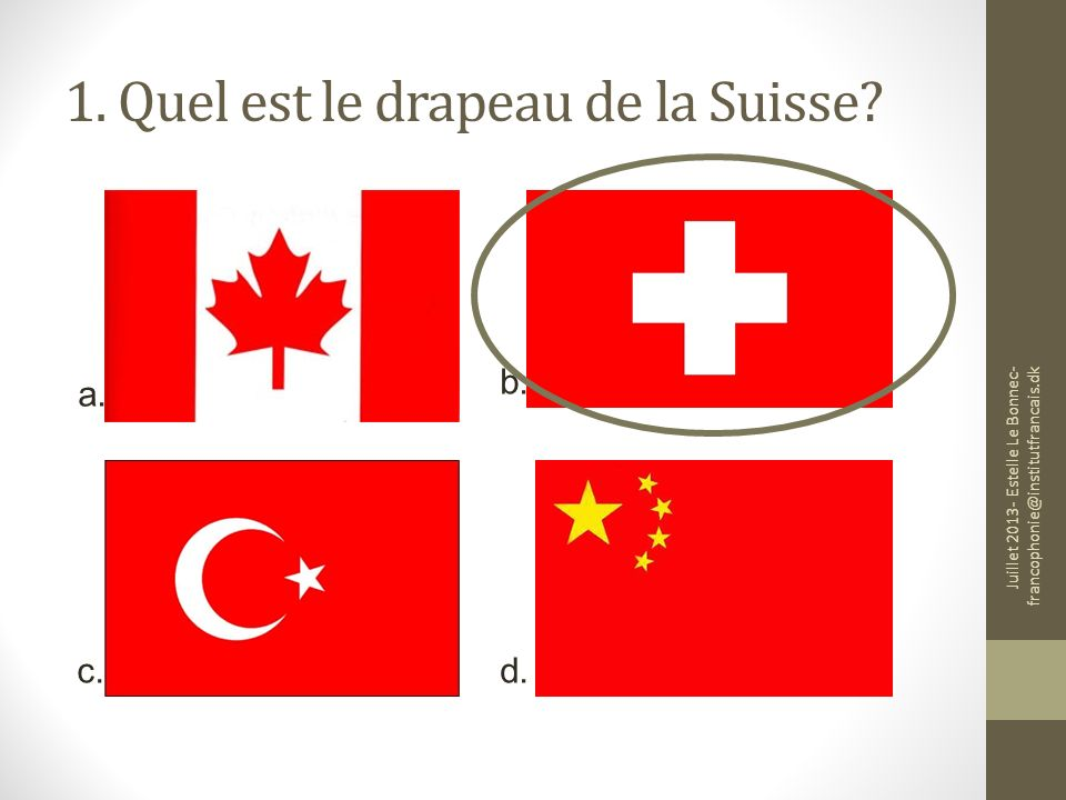 1. Quel est le drapeau de la Suisse
