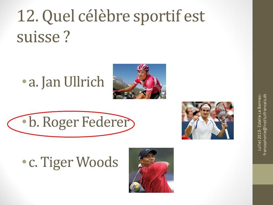 12. Quel célèbre sportif est suisse