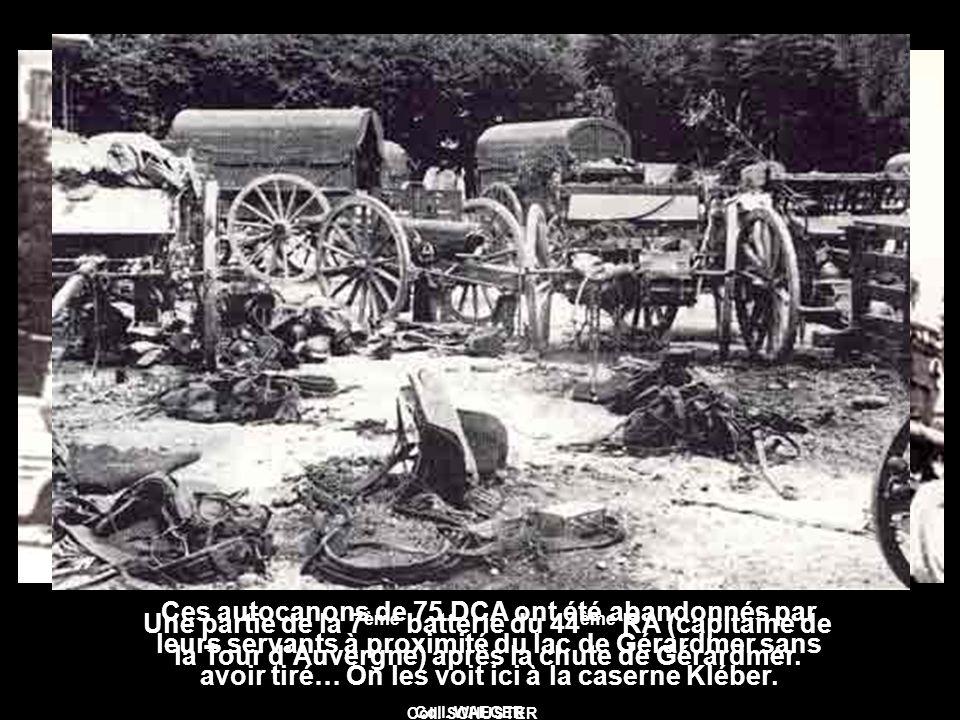 Ces autocanons de 75 DCA ont été abandonnés par leurs servants à proximité du lac de Gérardmer sans avoir tiré… On les voit ici à la caserne Kléber.