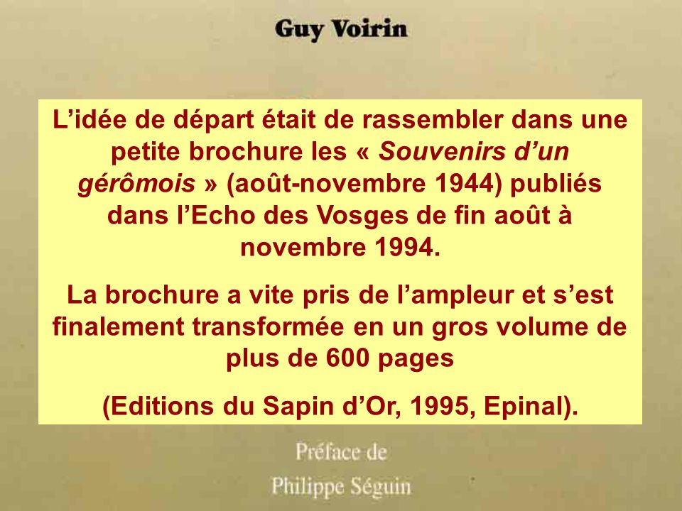 (Editions du Sapin d'Or, 1995, Epinal).
