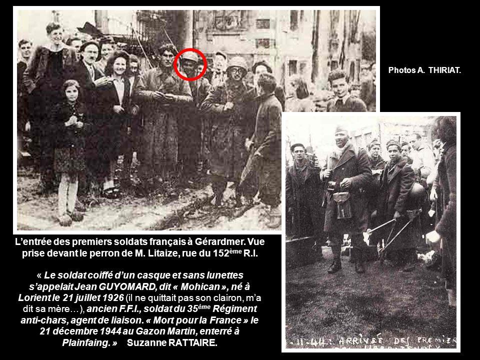 Photos A. THIRIAT. L'entrée des premiers soldats français à Gérardmer. Vue prise devant le perron de M. Litaize, rue du 152ème R.I.