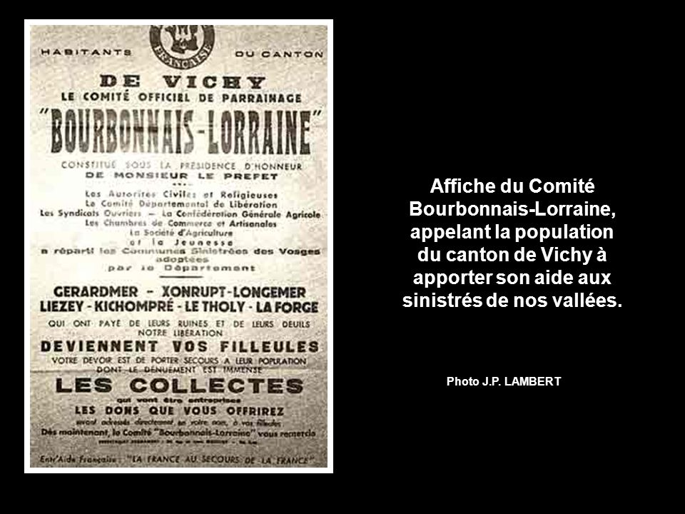 Affiche du Comité Bourbonnais-Lorraine, appelant la population du canton de Vichy à apporter son aide aux sinistrés de nos vallées.