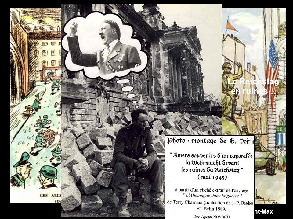 Le Reichstag en ruines… Aquarelle de Bernard LEROY, Saint-Max