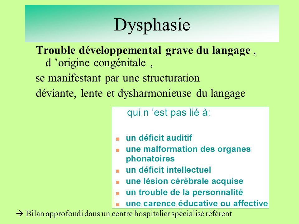 Dysphasie Trouble développemental grave du langage , d 'origine congénitale ,