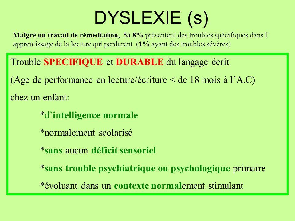 DYSLEXIE (s) Trouble SPECIFIQUE et DURABLE du langage écrit