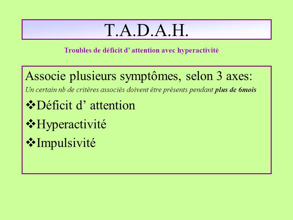 T.A.D.A.H. Associe plusieurs symptômes, selon 3 axes: