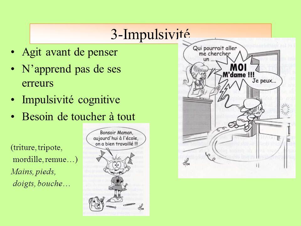 3-Impulsivité Agit avant de penser N'apprend pas de ses erreurs