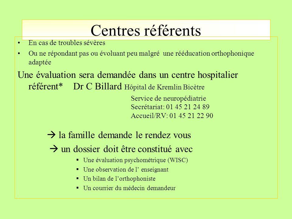 Centres référents En cas de troubles sévères. Ou ne répondant pas ou évoluant peu malgré une rééducation orthophonique adaptée.