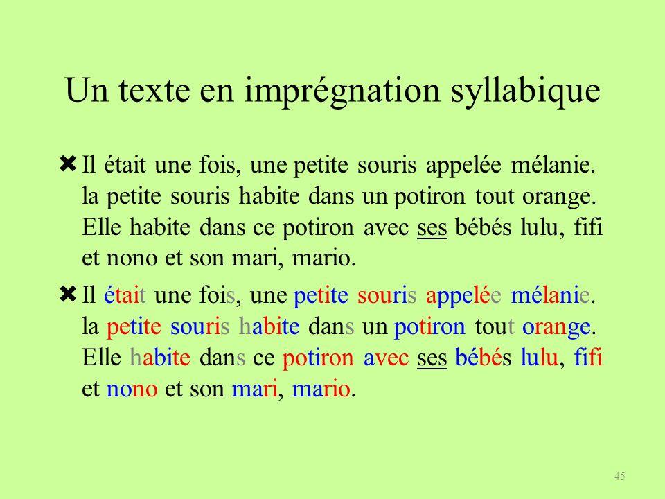 Un texte en imprégnation syllabique