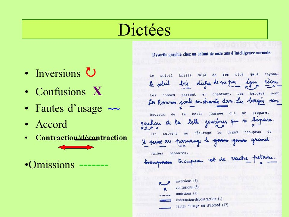 Dictées Inversions  Confusions X Fautes d'usage ~~ Accord