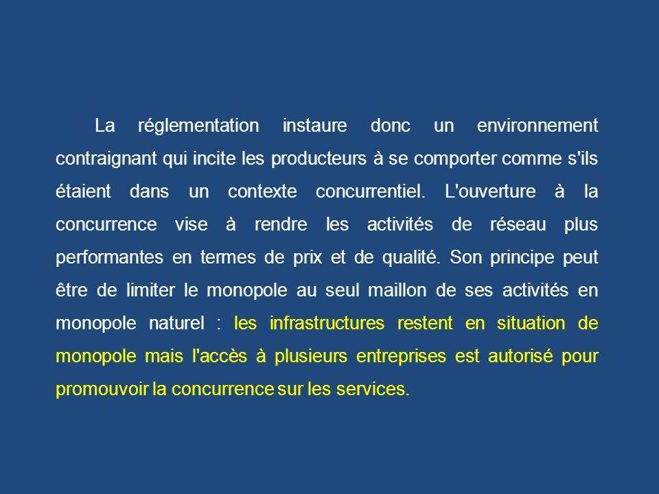La réglementation instaure donc un environnement contraignant qui incite les producteurs à se comporter comme s ils étaient dans un contexte concurrentiel.