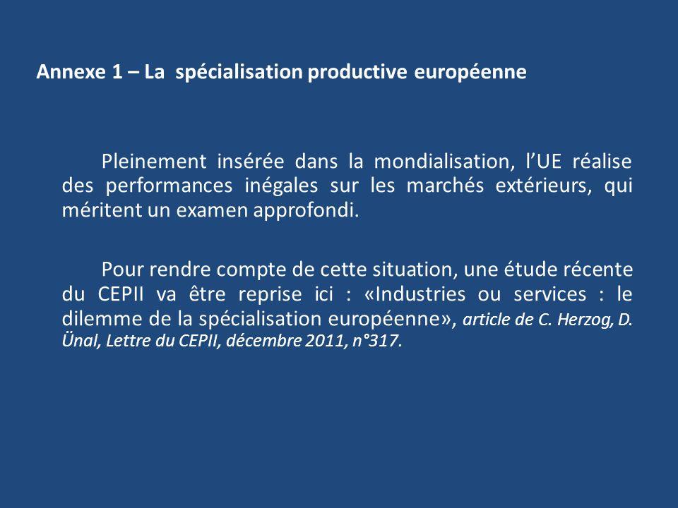 Annexe 1 – La spécialisation productive européenne Pleinement insérée dans la mondialisation, l'UE réalise des performances inégales sur les marchés extérieurs, qui méritent un examen approfondi.
