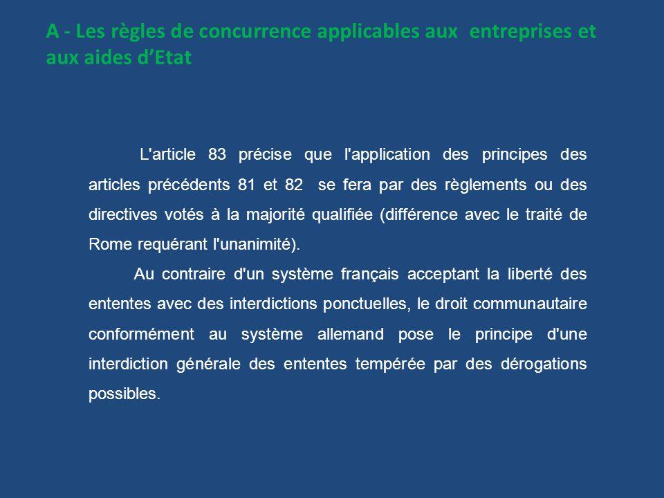 A - Les règles de concurrence applicables aux entreprises et aux aides d'Etat