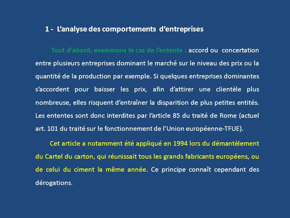 1 - L'analyse des comportements d'entreprises