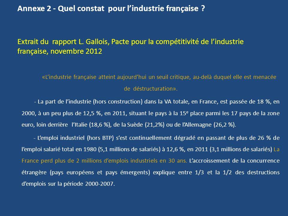 Annexe 2 - Quel constat pour l'industrie française