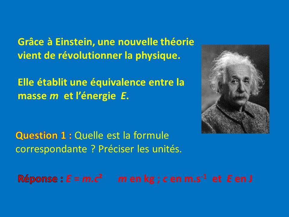 Grâce à Einstein, une nouvelle théorie vient de révolutionner la physique. Elle établit une équivalence entre la masse m et l'énergie E.
