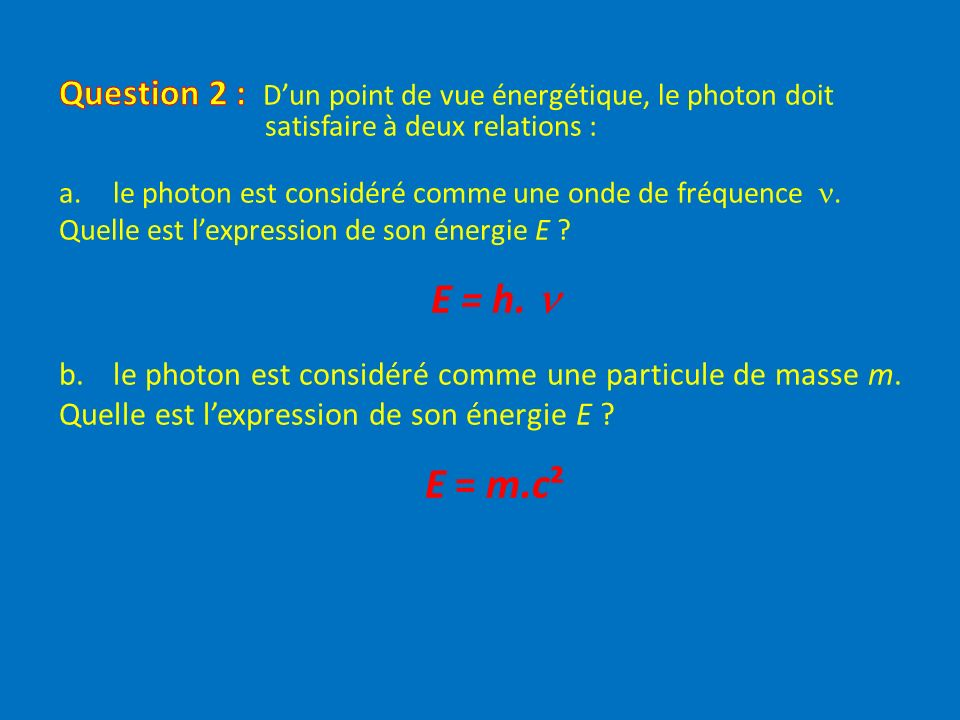 Question 2 : D'un point de vue énergétique, le photon doit