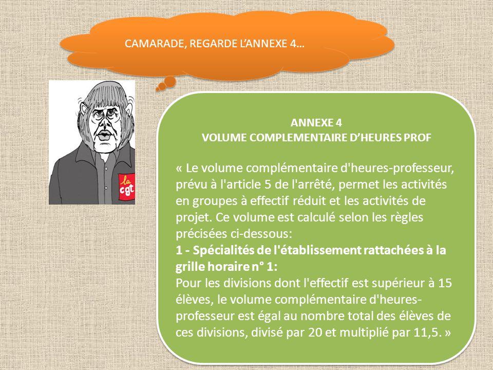 VOLUME COMPLEMENTAIRE D'HEURES PROF