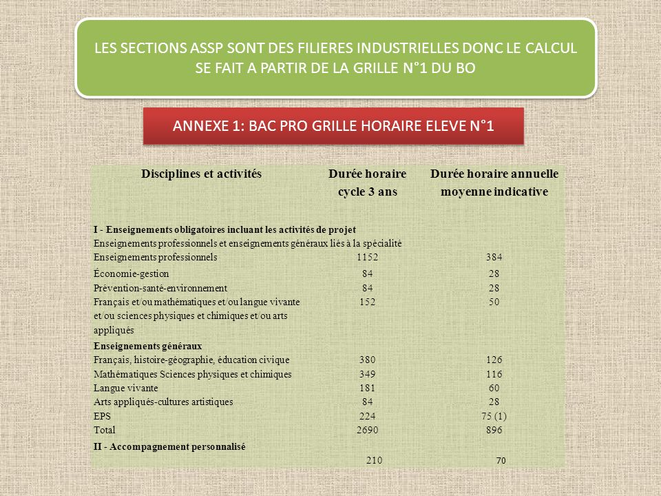 ANNEXE 1: BAC PRO GRILLE HORAIRE ELEVE N°1