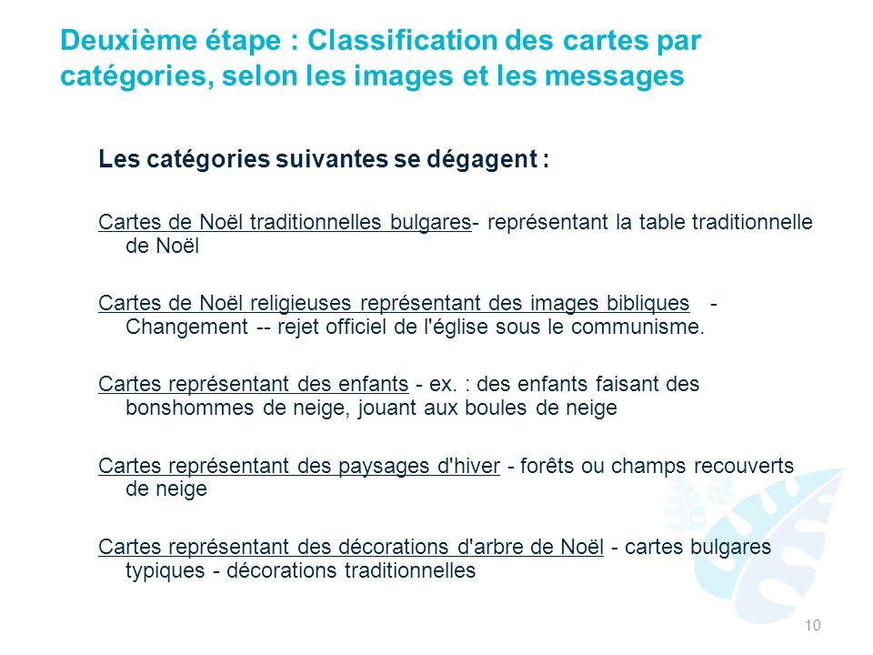 Deuxième étape : Classification des cartes par catégories, selon les images et les messages