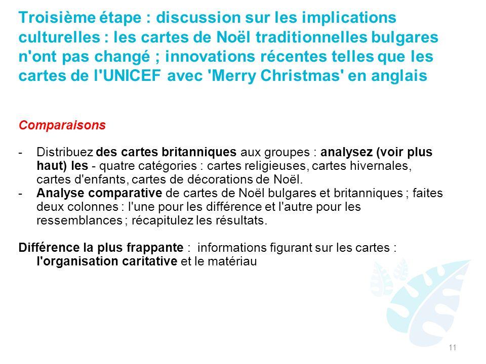 Troisième étape : discussion sur les implications culturelles : les cartes de Noël traditionnelles bulgares n ont pas changé ; innovations récentes telles que les cartes de l UNICEF avec Merry Christmas en anglais