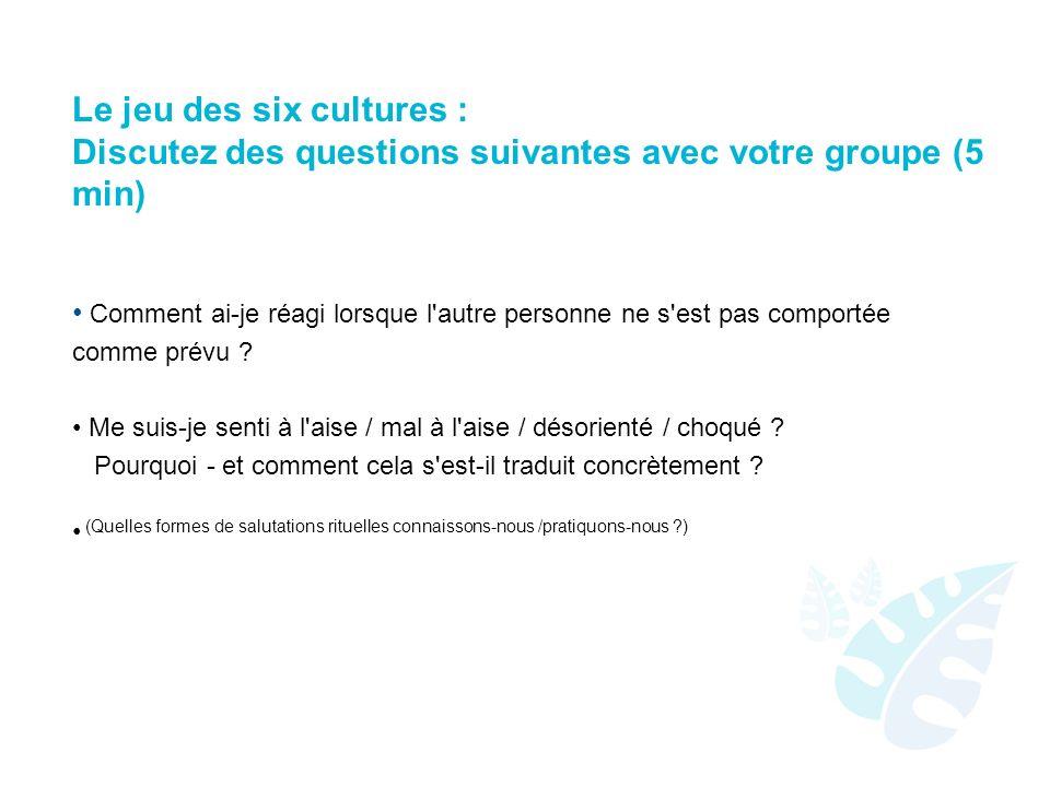 Le jeu des six cultures : Discutez des questions suivantes avec votre groupe (5 min)