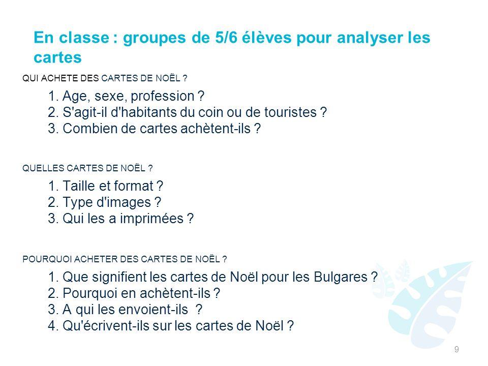 En classe : groupes de 5/6 élèves pour analyser les cartes
