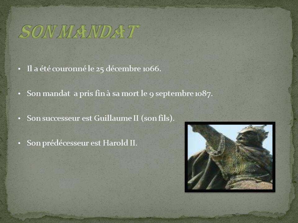Son mandat Il a été couronné le 25 décembre 1066.