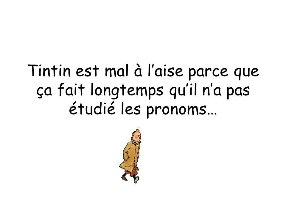 Tintin est mal à l'aise parce que ça fait longtemps qu'il n'a pas étudié les pronoms…