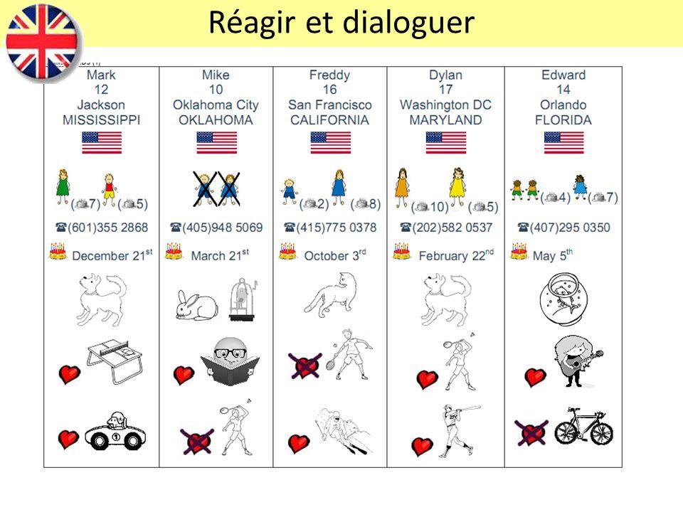 Réagir et dialoguer Réagir et dialoguer