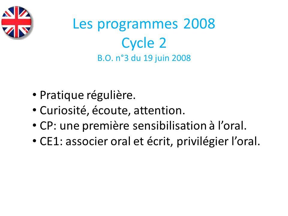 Les programmes 2008 Cycle 2 Pratique régulière.