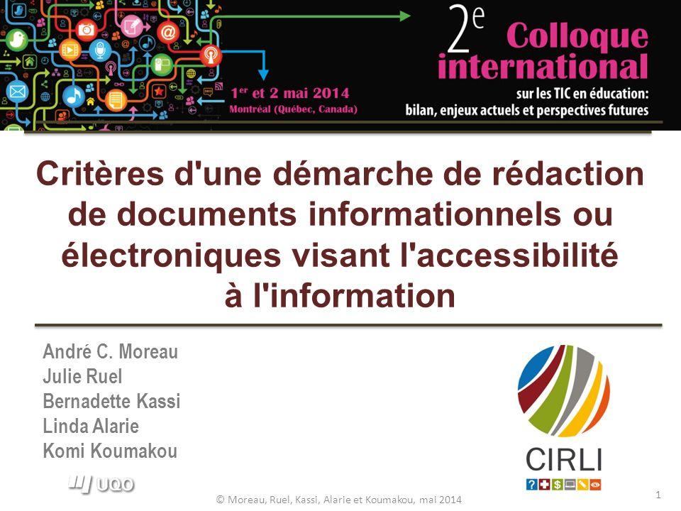 © Moreau, Ruel, Kassi, Alarie et Koumakou, mai 2014