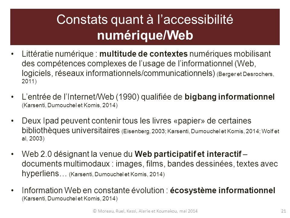 Constats quant à l'accessibilité numérique/Web