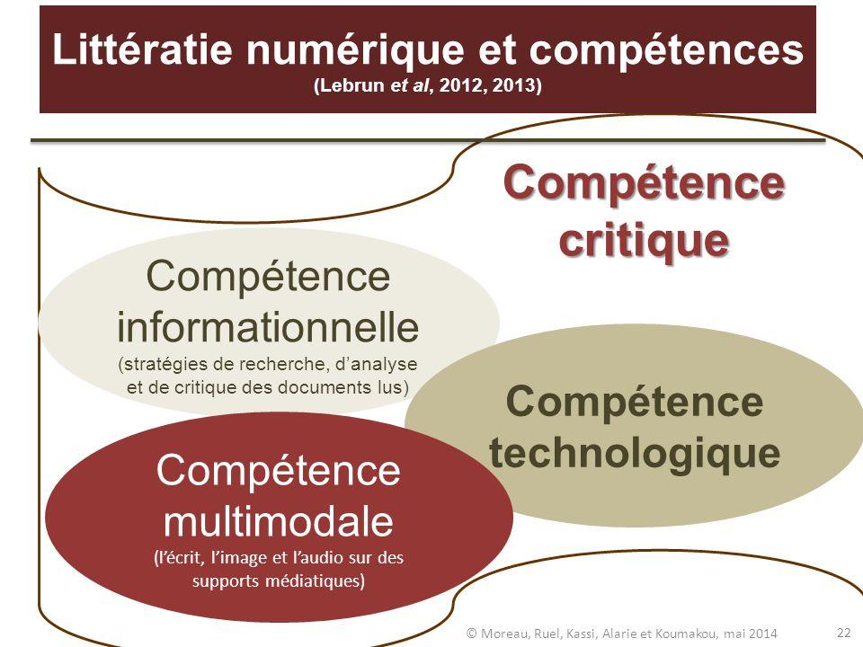 Littératie numérique et compétences (Lebrun et al, 2012, 2013)