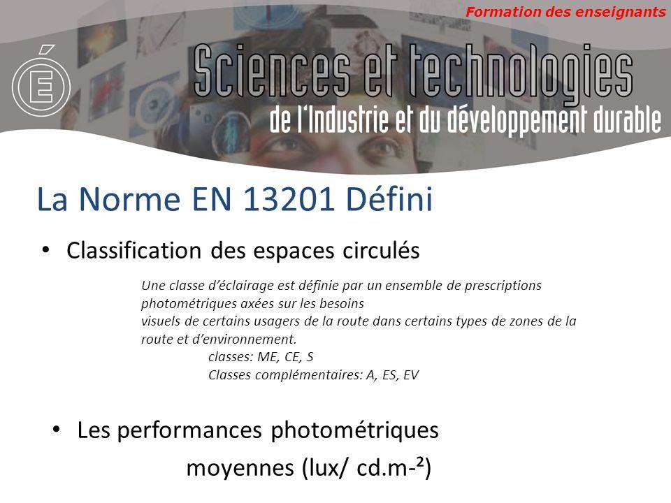 La Norme EN 13201 Défini Classification des espaces circulés