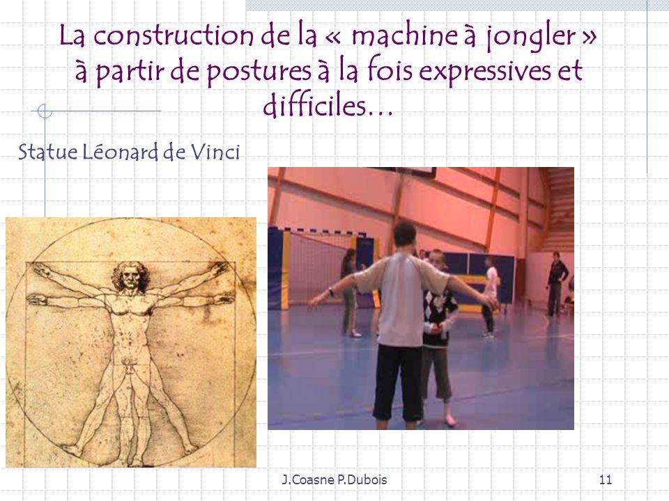 La construction de la « machine à jongler » à partir de postures à la fois expressives et difficiles…