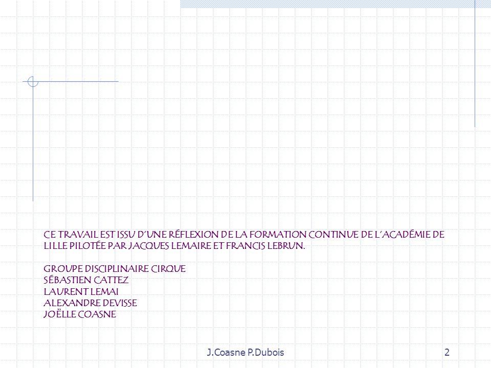 Ce travail est issu d'une réflexion de la Formation continue de l'académie de Lille pilotée par Jacques Lemaire et Francis Lebrun. Groupe disciplinaire cirque Sébastien Cattez Laurent Lemai Alexandre Devisse Joëlle Coasne