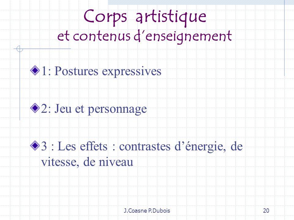 Corps artistique et contenus d'enseignement