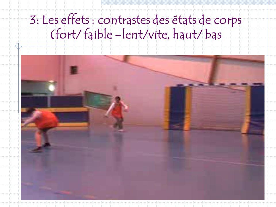 3: Les effets : contrastes des états de corps (fort/ faible –lent/vite, haut/ bas