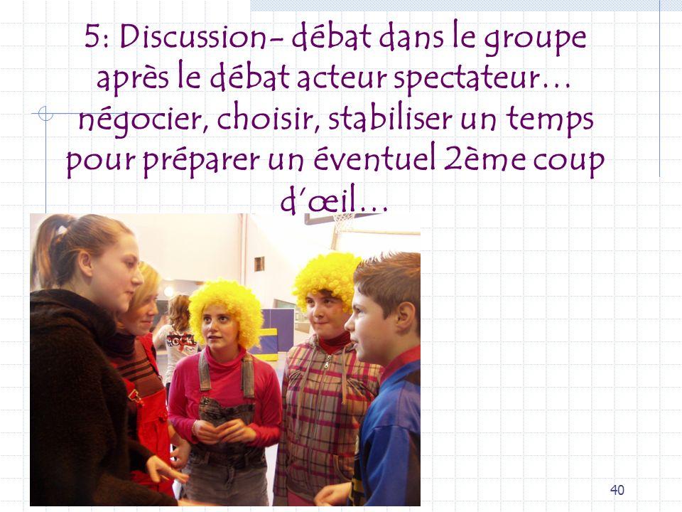 5: Discussion- débat dans le groupe après le débat acteur spectateur… négocier, choisir, stabiliser un temps pour préparer un éventuel 2ème coup d'œil…