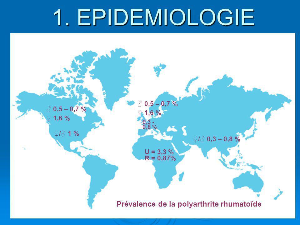 1. EPIDEMIOLOGIE Prévalence de la polyarthrite rhumatoïde