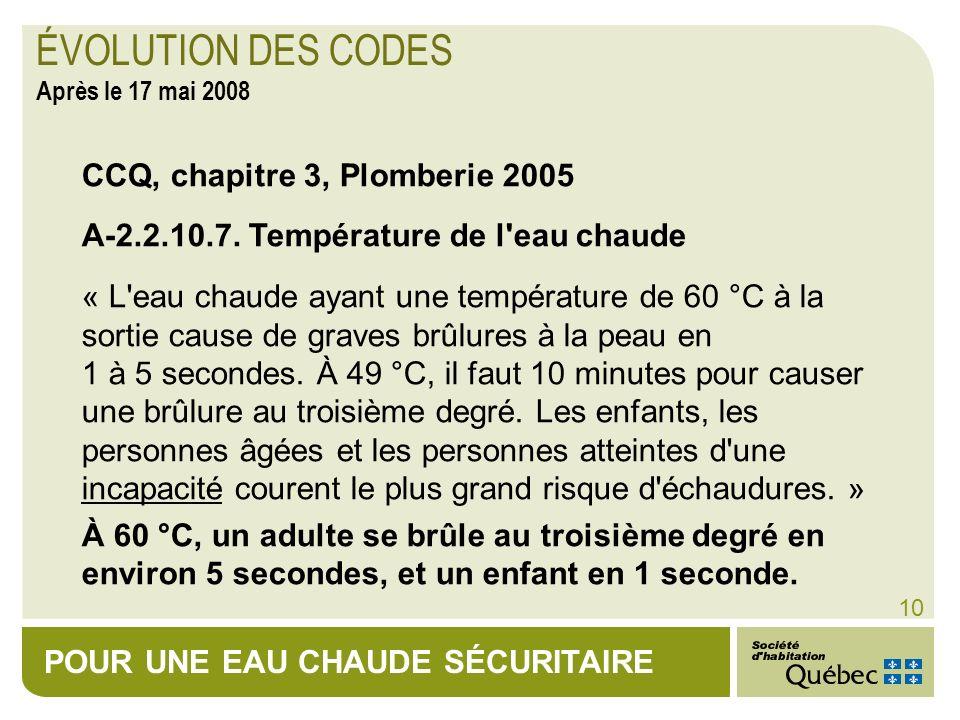 ÉVOLUTION DES CODES Après le 17 mai 2008