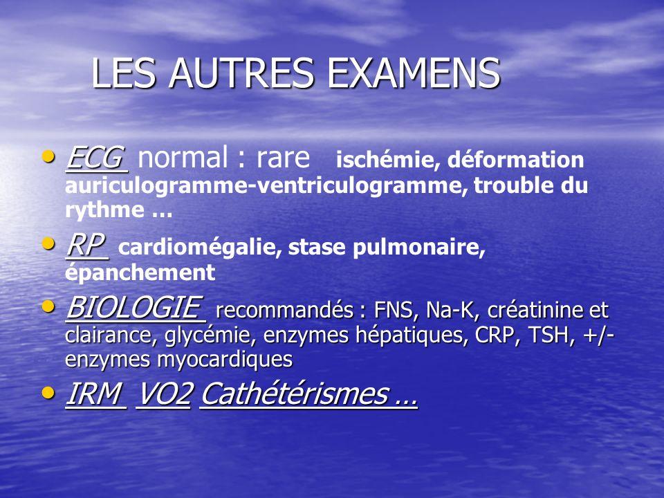 LES AUTRES EXAMENS ECG normal : rare ischémie, déformation auriculogramme-ventriculogramme, trouble du rythme …