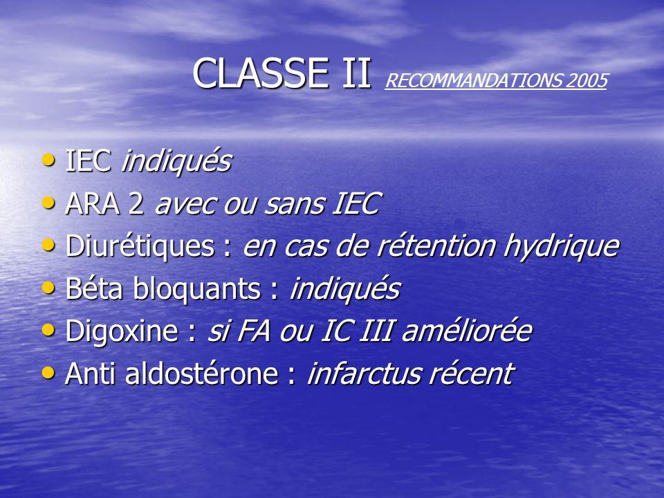 CLASSE II RECOMMANDATIONS 2005