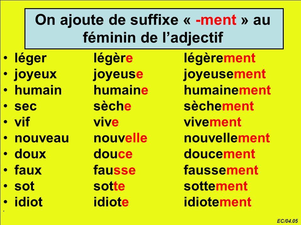 On ajoute de suffixe « -ment » au féminin de l'adjectif
