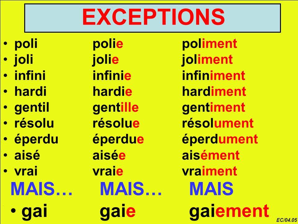 EXCEPTIONS MAIS… MAIS… MAIS gai gaie gaiement poli polie poliment